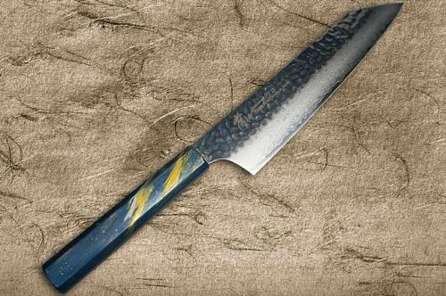 Sakai Takayuki 33-Layer VG10 Damascus Urushi Chefs Kengata-Gyuto Knife 190mm with Japanese Lacquered Oak Handle SAISEKI