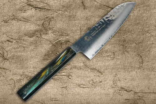 Sakai Takayuki 33-Layer VG10 Damascus Urushi Chefs Santoku Knife 170mm with Japanese Lacquered Oak Handle SAIU