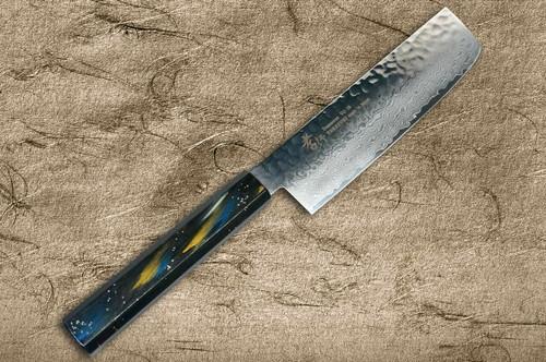 Sakai Takayuki 33-Layer VG10 Damascus Urushi Chefs NakiriVegetable 160mm with Japanese Lacquered Oak Handle SAIU