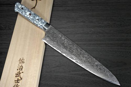 Takeshi Saji R2 Diamond Finish Damascus TCW Japanese Chefs Gyuto Knife 240mm with White Turquoise Handle