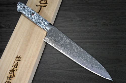 Takeshi Saji R2 Diamond Finish Damascus TCW Japanese Chefs Gyuto Knife 210mm with White Turquoise Handle