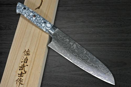 Takeshi Saji R2 Diamond Finish Damascus TCW Japanese Chefs Santoku Knife 180mm with White Turquoise Handle