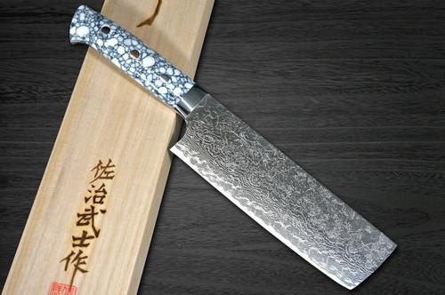 Takeshi Saji R2 Diamond Finish Damascus TCW Japanese Chefs NakiriVegetable 170mm with White Turquoise Handle