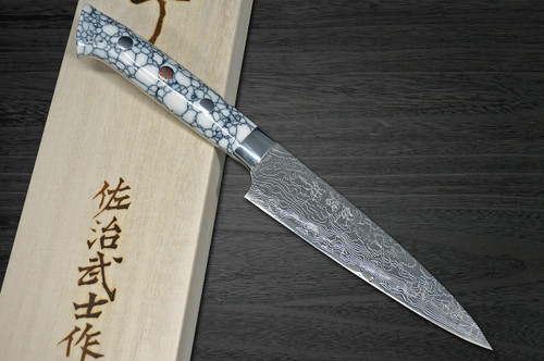 Takeshi Saji R2 Diamond Finish Damascus TCW Japanese Chefs Petty KnifeUtility 130mm with White Turquoise Handle