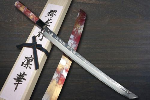 Sakai Takayuki RINKA Ginsan Silver Steel No.3 Japanese Chefs Mirrored Sakimaru-TakohikiSashimi 390mm with Artistic Handle and Saya Sheath