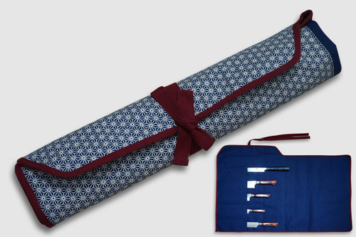 Japanese Style Knife Roll Hemp-Leaf Motif Indigo Large Vermilion Lace 5 Pockets