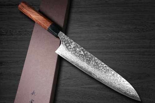 Yoshimi Kato 63 Layer VG10 Damascus Hammered RS8 Japanese Chefs Gyuto Knife 210mm with Black-Ring Octagonal Handle