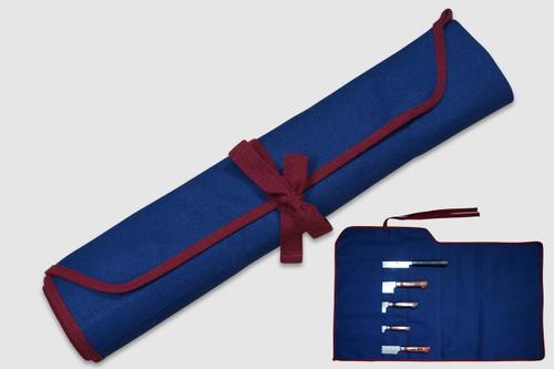 Japanese Style Knife Roll Plain Indigo Large Vermilion Lace 5 Pockets