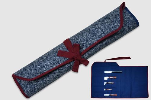 Japanese Style Knife Roll Chrysanthemum Motif Indigo Large Vermilion Lace 5 Pockets