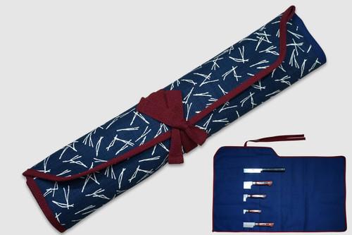 Japanese Style Knife Roll Pine-Needle Motif Indigo Large Vermilion Lace 5 Pockets