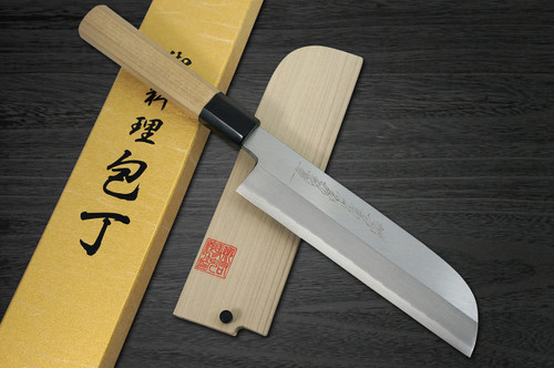 Yoshihiro Gingami No.3 G3HC Japanese Chefs Kamagata-UsubaVegetable 180mm with Saya Sheath and Magnolia Wood Handle