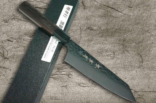 Sakai Takayuki Non-Stick Coating VG10 Hammered WA KUROKAGE Japanese Chefs Kengata-Santoku Knife 160mm with Wenge Handle