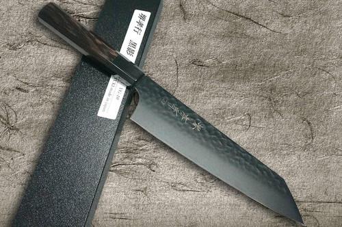 Sakai Takayuki Non-Stick Coating VG10 Hammered WA KUROKAGE Japanese Chefs Kengata-Gyuto Knife 190mm with Wenge Handle