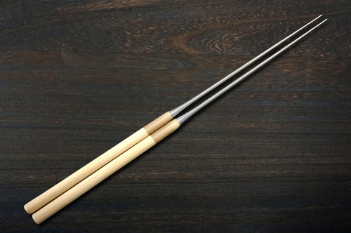 Stainless Cooking Chopsticks Japanese Chefs Moribashi 180mm with Magnolia Handle