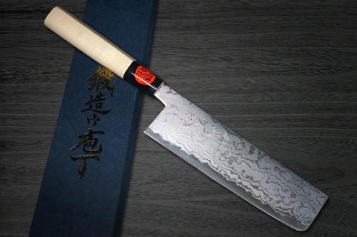 Shigeki Tanaka Aogami No.2 Damascus MB Japanese Chefs Vegetable Knife 165mm with Magnolia Wood Handle