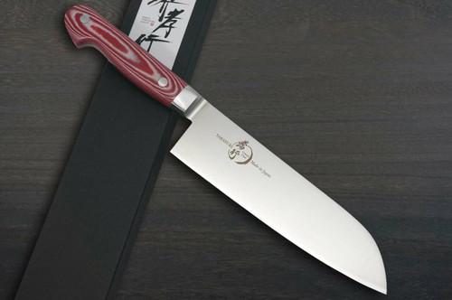 Sakai Takayuki Grand Chef Micarta Handle Japanese Chefs Santoku Knife 180mm Red