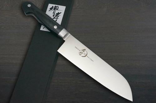 Sakai Takayuki Grand Chef Micarta Handle Japanese Chefs Santoku Knife 180mm Black