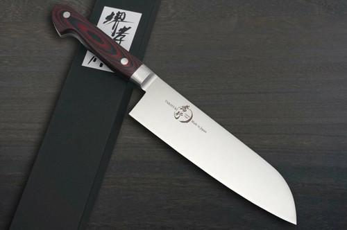 Sakai Takayuki Grand Chef Micarta Handle Japanese Chefs Santoku Knife 180mm Wine