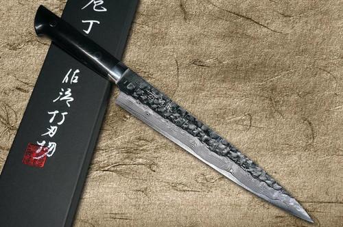 Takeshi Saji VG10 Mirror Hammered Damascus MCB Japanese Chefs SlicerSujihiki 240mm with Black Micarta Handle