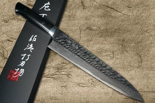 Takeshi Saji VG10 Mirror Hammered Damascus MCB Japanese Chefs Gyuto Knife 240mm with Black Micarta Handle