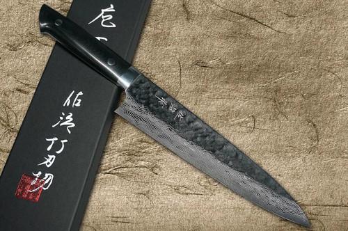 Takeshi Saji VG10 Mirror Hammered Damascus MCB Japanese Chefs Gyuto Knife 180mm with Black Micarta Handle