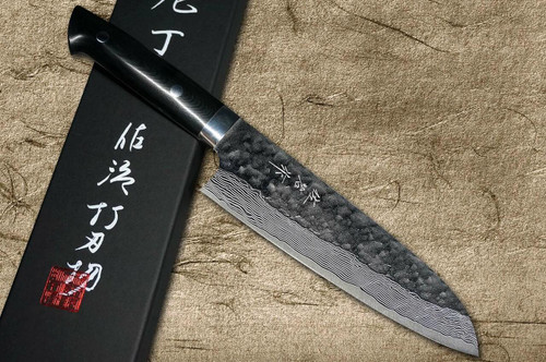 Takeshi Saji VG10 Mirror Hammered Damascus MCB Japanese Chefs Santoku Knife 180mm with Black Micarta Handle