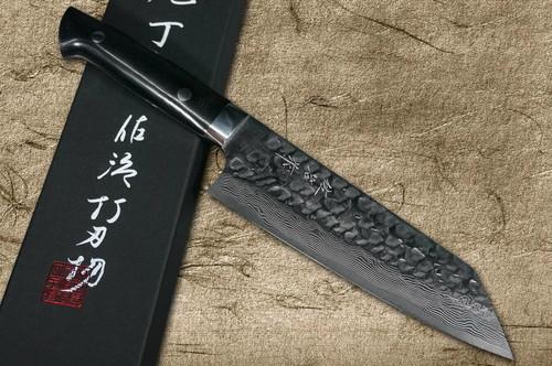 Takeshi Saji VG10 Mirror Hammered Damascus MCB Japanese Chefs Bunka Knife 180mm with Black Micarta Handle