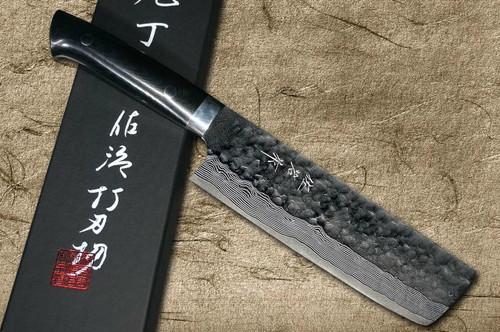 Takeshi Saji VG10 Mirror Hammered Damascus MCB Japanese Chefs NakiriVegetable 170mm with Black Micarta Handle