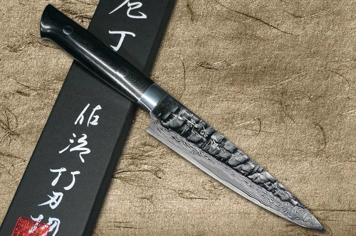 Takeshi Saji VG10 Mirror Hammered Damascus MCB Japanese Chefs Petty KnifeUtility 90mm with Black Micarta Handle