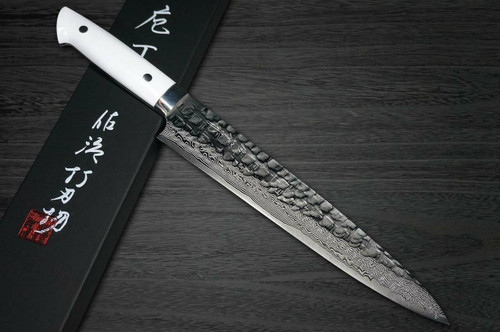 Takeshi Saji VG10 Mirror Hammered Damascus CRW Japanese Chefs SlicerSujihiki 270mm with White Stone Handle