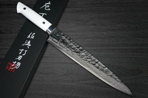 Takeshi Saji VG10 Mirror Hammered Damascus CRW Japanese Chefs SlicerSujihiki 240mm with White Stone Handle