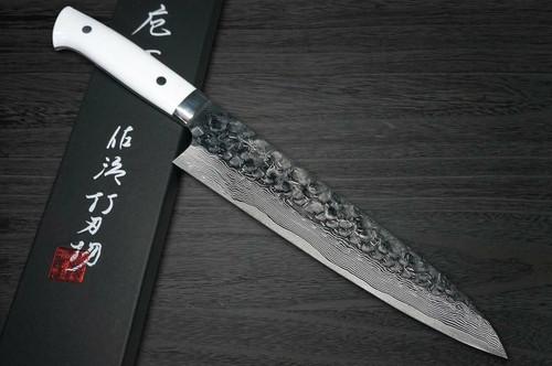Takeshi Saji VG10 Mirror Hammered Damascus CRW Japanese Chefs Gyuto Knife 240mm with White Stone Handle