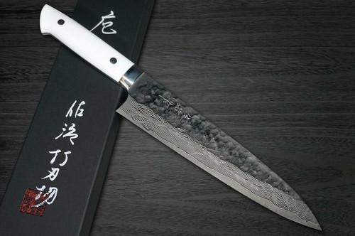 Takeshi Saji VG10 Mirror Hammered Damascus CRW Japanese Chefs Gyuto Knife 180mm with White Stone Handle