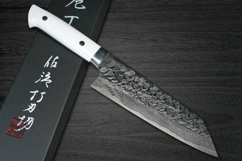 Takeshi Saji VG10 Mirror Hammered Damascus CRW Japanese Chefs Bunka Knife 180mm with White Stone Handle