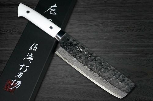 Takeshi Saji VG10 Mirror Hammered Damascus CRW Japanese Chefs NakiriVegetable 170mm with White Stone Handle