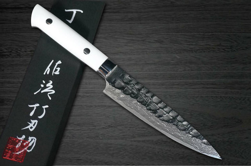 Takeshi Saji VG10 Mirror Hammered Damascus CRW Japanese Chefs Petty KnifeUtility 130mm with White Stone Handle