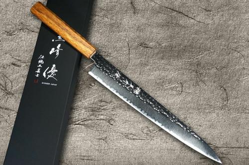 Yu Kurosaki R2SG2 Hammered SENKO WA OK8M Japanese Chefs SlicerSujihiki 270mm with Urushi Lacquered Oak Handle