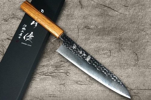 Yu Kurosaki R2SG2 Hammered SENKO WA OK8M Japanese Chefs Gyuto Knife 180mm with Urushi Lacquered Oak Handle
