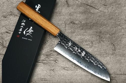 Yu Kurosaki R2SG2 Hammered SENKO WA OK8M Japanese Chefs Santoku Knife 170mm with Urushi Lacquered Oak Handle