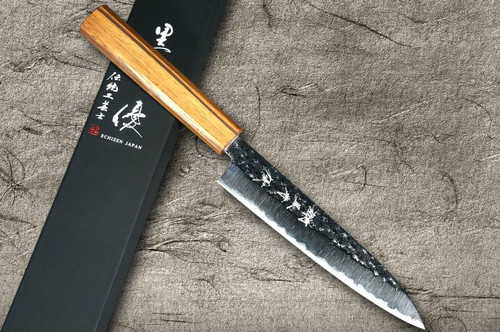 Yu Kurosaki R2SG2 Hammered SENKO WA OK8M Japanese Chefs Petty KnifeUtility 150mm with Urushi Lacquered Oak Handle