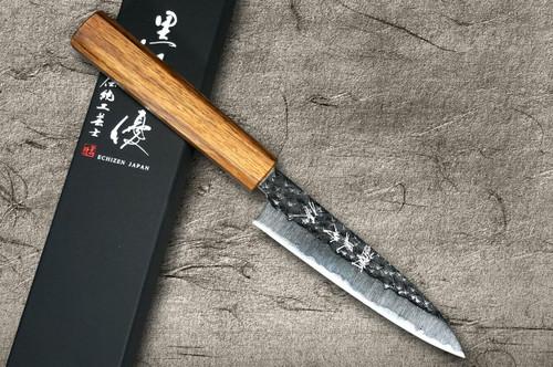 Yu Kurosaki R2SG2 Hammered SENKO WA OK8M Japanese Chefs Petty KnifeUtility 120mm with Urushi Lacquered Oak Handle