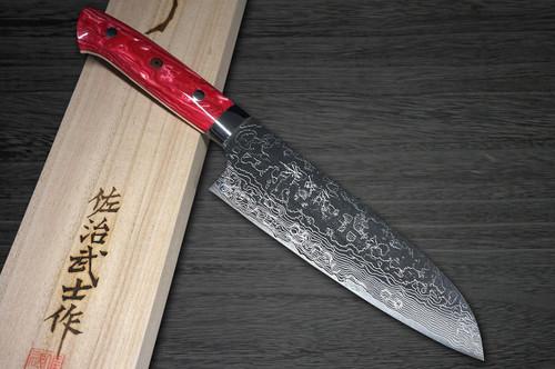 Takeshi Saji R2 Diamond Finish Damascus TCR Japanese Chefs Santoku Knife 180mm with Red Turquoise Handle