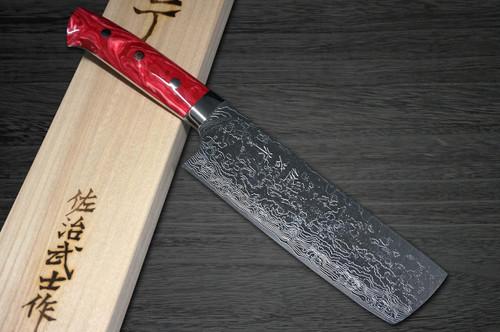 Takeshi Saji R2 Diamond Finish Damascus TCR Japanese Chefs NakiriVegetable 170mm with Red Turquoise Handle