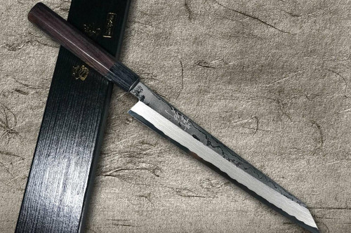 Takayuki Iwai Aogami No.2 Damascus FUMON RS Japanese Chefs Kiritsuke-YanagibaSashimi 240mm