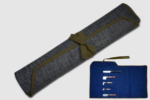 Japanese Style Knife Roll Chrysanthemum Motif Indigo Large Khaki Lace 5 Pockets