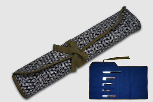 Japanese Style Knife Roll Hemp-Leaf Motif Indigo Large Khaki Lace 5 Pockets