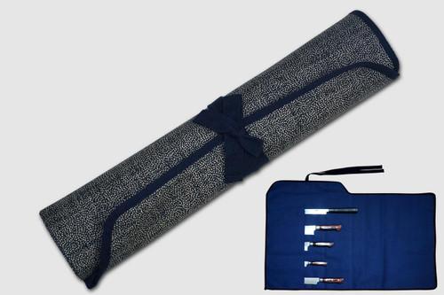 Japanese Style Knife Roll Chrysanthemum Motif Indigo Large Navy Lace 5 Pockets