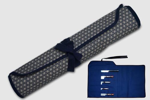 Japanese Style Knife Roll Hemp-Leaf Motif Indigo Large Navy Lace 5 Pockets
