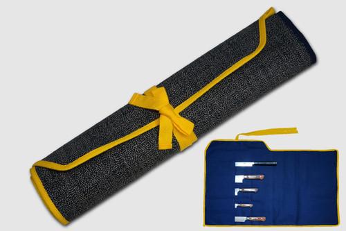 Japanese Style Knife Roll Chrysanthemum Motif Indigo Large Gold Yellow Lace 5 Pockets