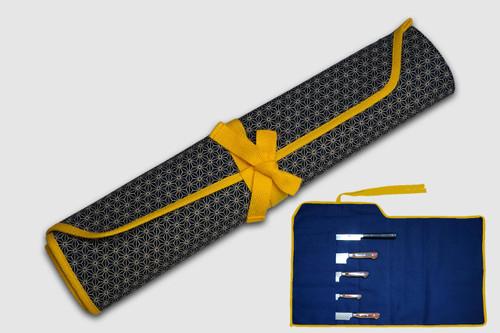 Japanese Style Knife Roll Hemp-Leaf Motif Indigo Large Gold Yellow Lace 5 Pockets